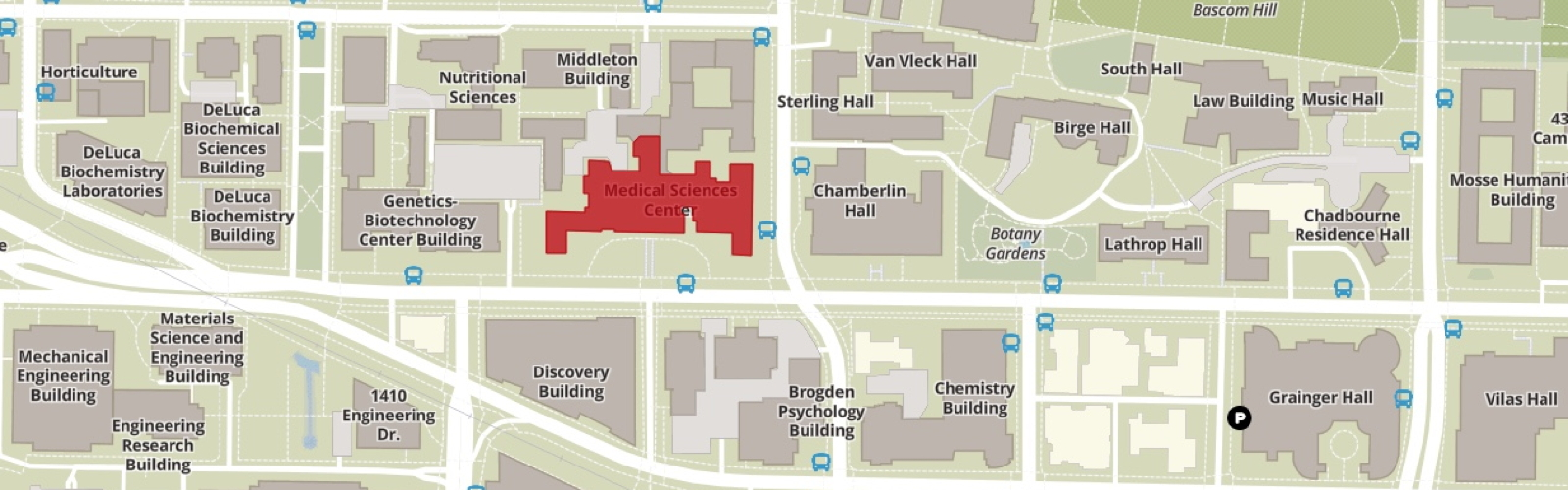 UW Map with the Medical Sciences Center highlighted